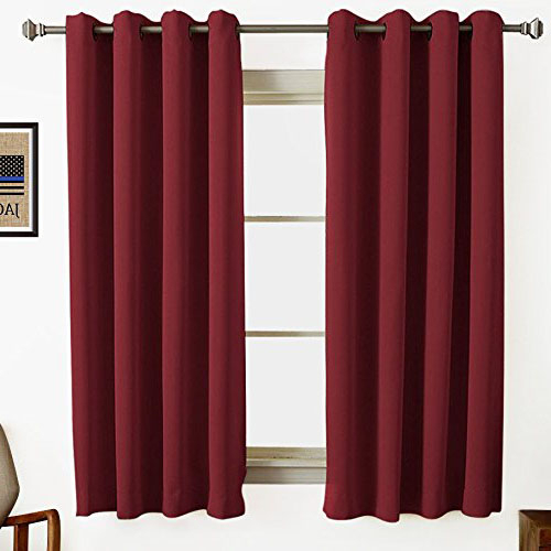 Burgundy Maroon Wine Colored Short Window Curtains Contemporary Style With Regard To Burgundy Cotton Blend Classic Checkered Decorative Window Curtains (View 16 of 25)