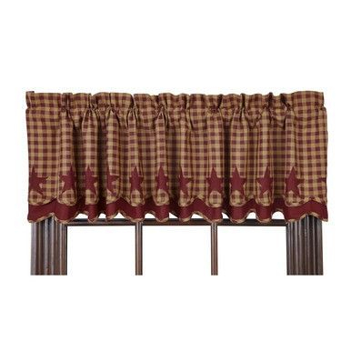 """Burgundy Star Scalloped Layered Lined Valance 72""""   Valance Regarding Burgundy Cotton Blend Classic Checkered Decorative Window Curtains (View 4 of 25)"""