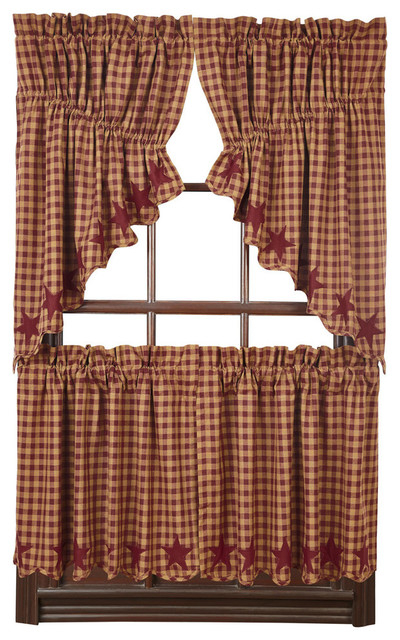 Burgundy Star Scalloped Prairie Swag, Set Of 2 With Check Scalloped Swag Sets (View 4 of 25)