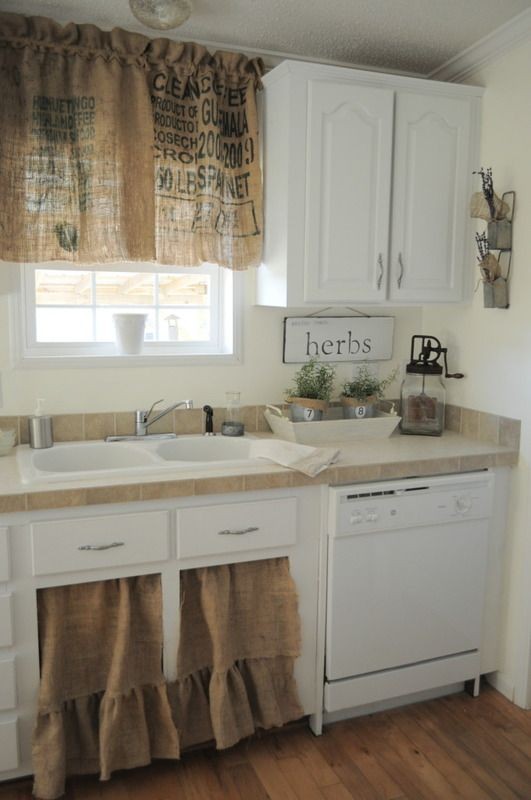 Burlap Kitchen Curtains ~ What A Fab Idea For A Vintage With Rustic Kitchen Curtains (View 2 of 25)