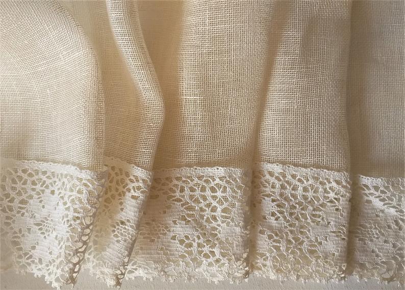Burlap Linen Cafe Curtains With Lace / Custom Curtains / Plain Sheer Linen With Rod Pocketluxoteks Inside Rod Pocket Cotton Striped Lace Cotton Burlap Kitchen Curtains (View 19 of 25)
