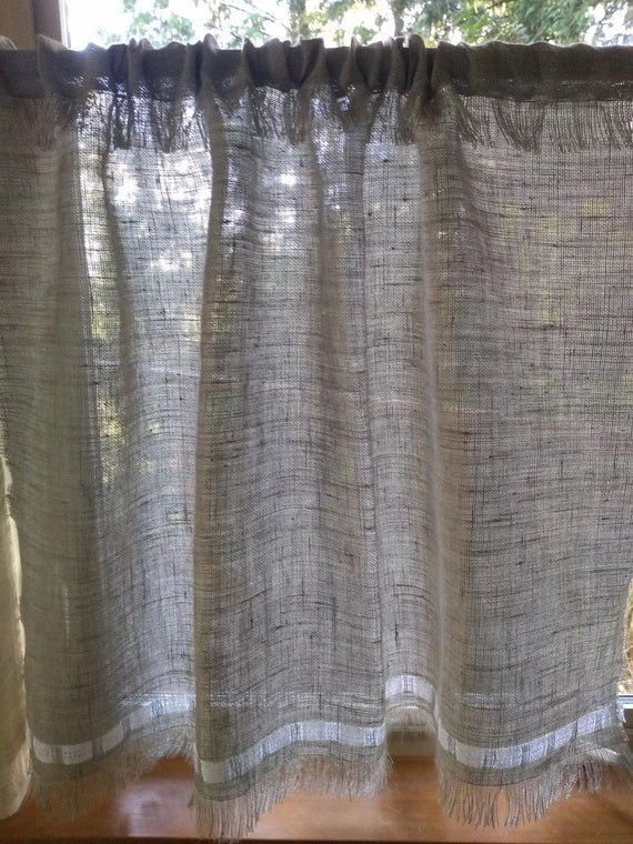 Burlap Window Curtain With Cotton Lace Custom Made For Your Curtain Rod Size. Cafe Curtains, Set Of One Or Two Panels (View 9 of 25)