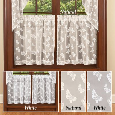 Butterfly Lace Cafe Curtain Tier Set | Kitchen In 2019 Throughout Ivory Micro Striped Semi Sheer Window Curtain Pieces (View 13 of 25)
