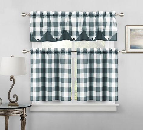 Button Check Faux Silk Kitchen Curtain Drape Tier & Valance Intended For Faux Silk 3 Piece Kitchen Curtain Sets (View 13 of 25)