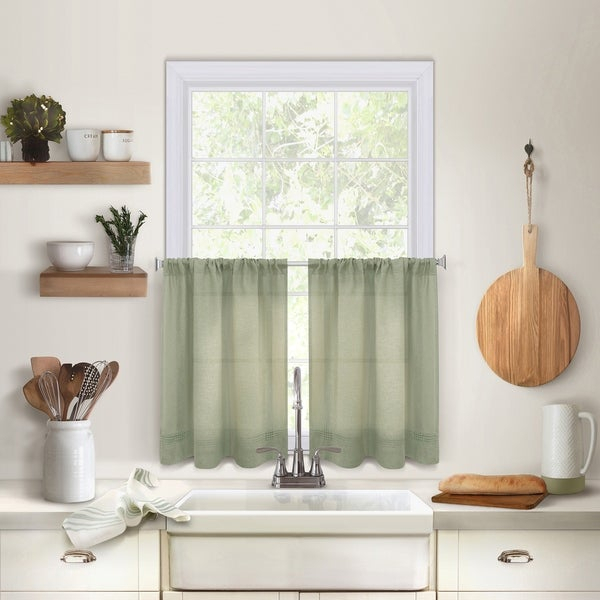 Buy Green Curtain Tiers Online At Overstock | Our Best Regarding Dexter 24 Inch Tier Pairs In Green (View 12 of 25)
