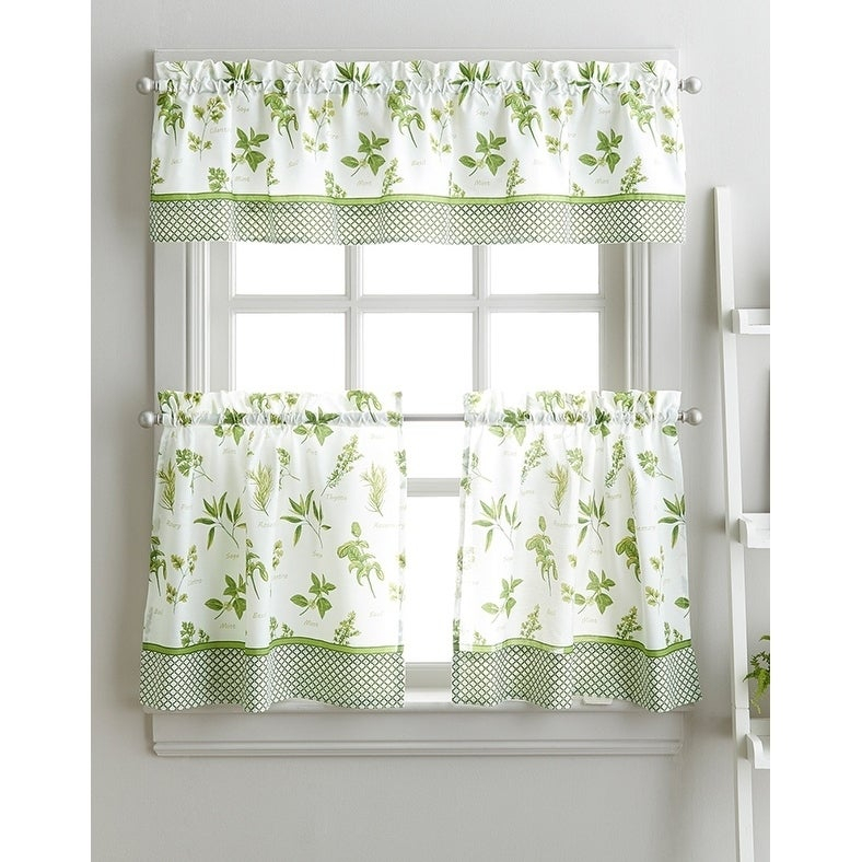 Buy Green, Polyester Blend Curtain Tiers Online At Overstock Inside Dexter 24 Inch Tier Pairs In Green (View 16 of 25)