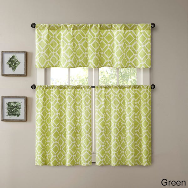 Buy Green, Polyester Blend Curtain Tiers Online At Overstock Intended For Dexter 24 Inch Tier Pairs In Green (View 9 of 25)