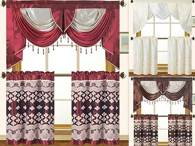 Cabernet Burgundy Kitchen Curtain With Swag And Tier Set 36 Regarding 5 Piece Burgundy Embroidered Cabernet Kitchen Curtain Sets (View 2 of 25)