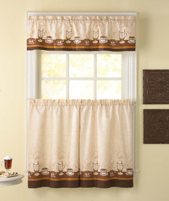 Cafe Au Lait 36L Tier And Valance Kitchen Curtain Set Coffee | Ebay Inside Coffee Drinks Embroidered Window Valances And Tiers (View 4 of 25)