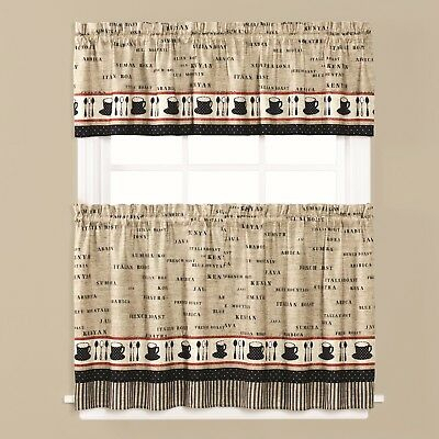 Cafe Coffee Themed Kitchen Curtain Collection – New | Ebay Throughout Top Of The Morning Printed Tailored Cottage Curtain Tier Sets (View 12 of 25)