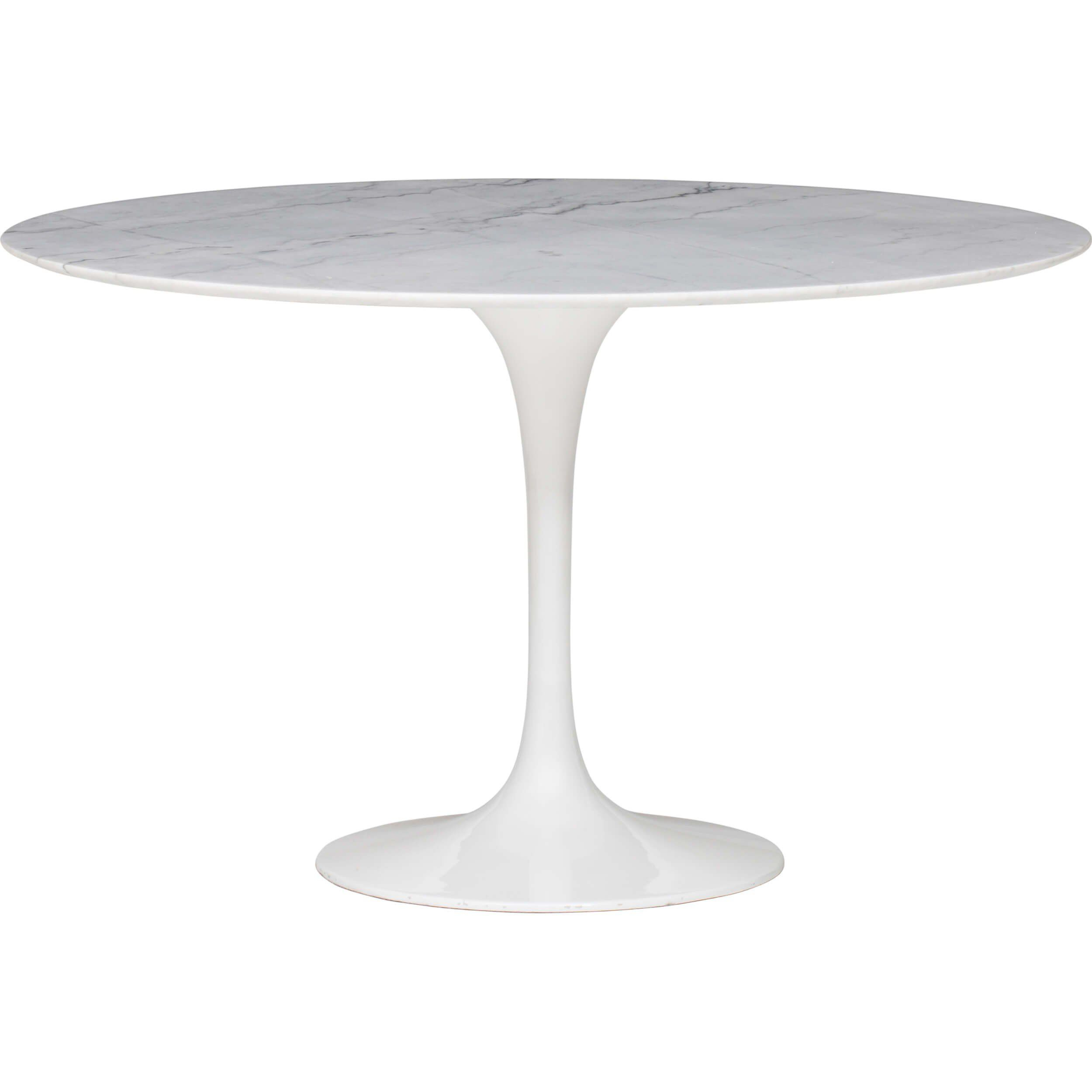 "Cal 48"" Round Dining Table, White Marble 