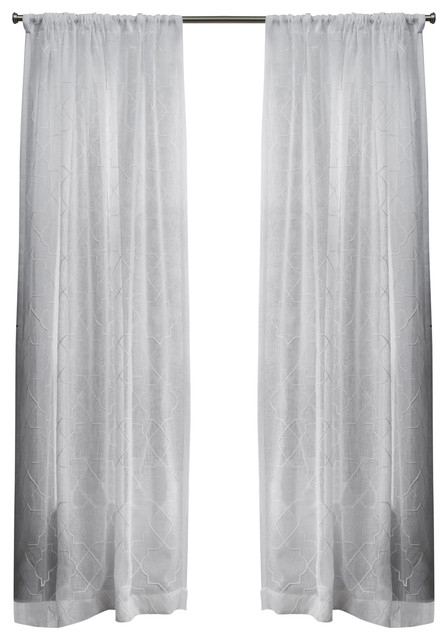 "Cali Sheer Window Curtain With Rod Pocket, Set Of 2, Winter White, 50""x108"" In Dove Gray Curtain Tier Pairs (View 19 of 25)"