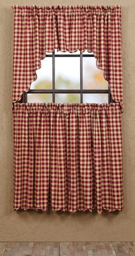 Cambrie Lane Tier Check Scalloped Lined (Set Of 2) L36Xw36 Within Check Scalloped Swag Sets (View 21 of 25)