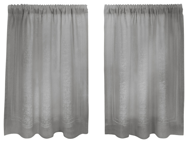"Cameron Cafe Kitchen Tier Curtain, Gray, 30""x24"" Pair Intended For Classic Black And White Curtain Tiers (View 4 of 25)"