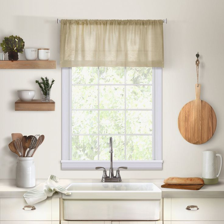 Cameron Linen Rod Pocket Kitchen Tier And Valance Collection In Oakwood Linen Style Decorative Window Curtain Tier Sets (View 17 of 25)