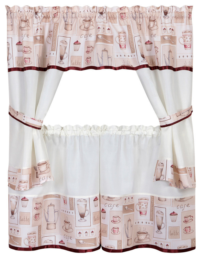 "Cappuccino Embellished Cottage Window Curtain Set 58""x24"" Throughout Delicious Apples Kitchen Curtain Tier And Valance Sets (Image 8 of 25)"