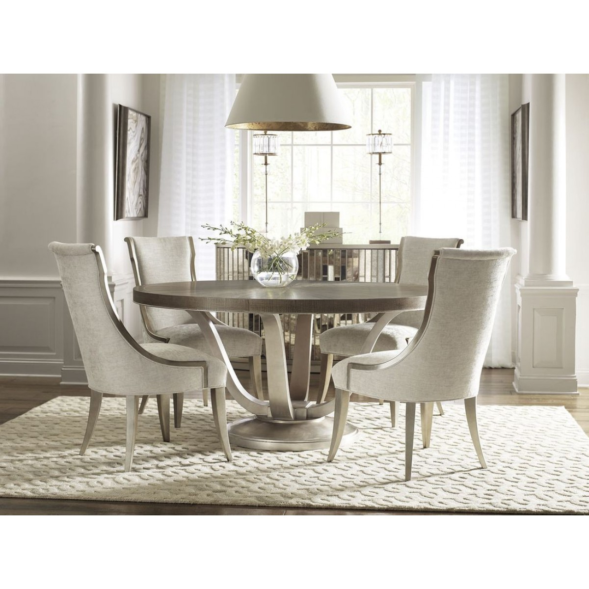 Caracole Avondale 5Pc Round Dining Table Set With Regard To Newest Avondale Dining Tables (View 3 of 25)