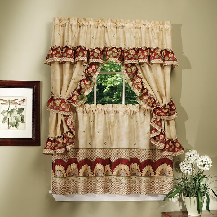 Carol 5 Piece Sunflower Cottage Window Curtain Set Within Window Curtains Sets With Colorful Marketplace Vegetable And Sunflower Print (View 7 of 25)