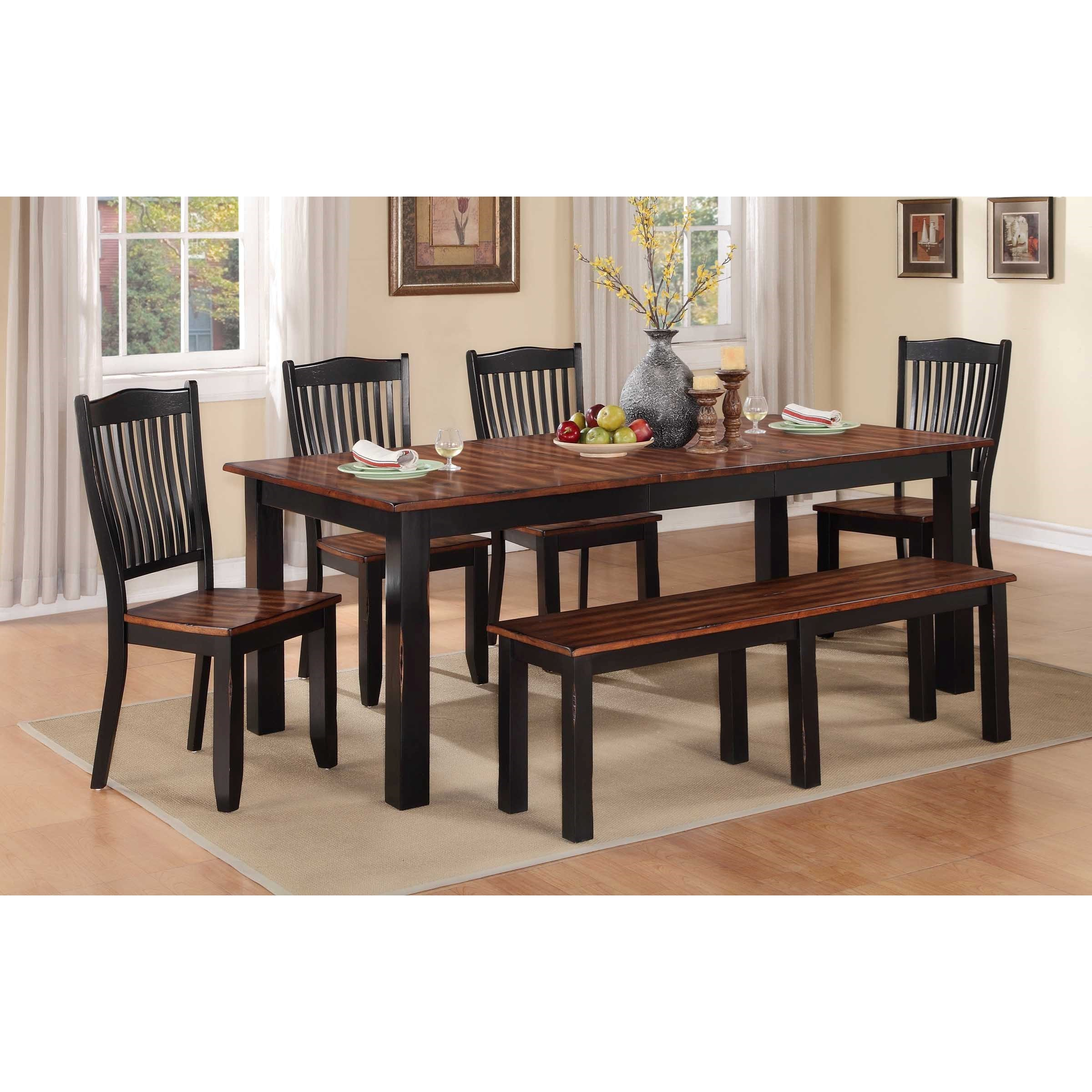Carson 6 Piece Dining Set With Bench In Current Carson Counter Height Tables (View 12 of 25)
