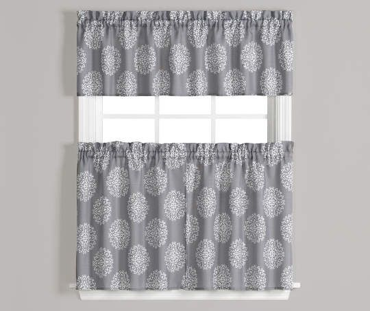 Carthage Gray And White Tier And Valance 3 Piece Set On For Scroll Leaf 3 Piece Curtain Tier And Valance Sets (View 11 of 25)