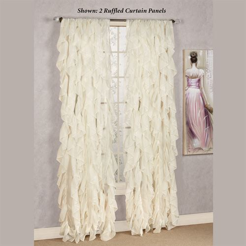 Cascade Sheer Voile Ruffled Window Treatment Inside Chic Sheer Voile Vertical Ruffled Window Curtain Tiers (View 9 of 25)