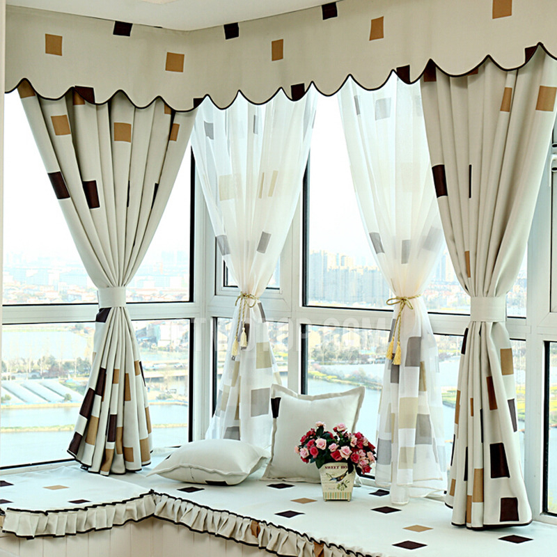 Casual Plaid Pattern Cotton/poly Blackout Curtain Of Bay Throughout Cotton Blend Classic Checkered Decorative Window Curtains (View 16 of 25)