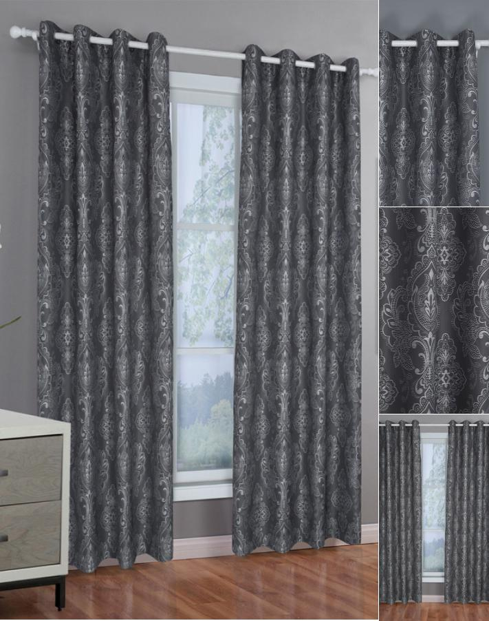 Charcoal Gray Curtains Silver Jacquard Luxury Damask Drapes For Living Room With Regard To Pastel Damask Printed Room Darkening Kitchen Tiers (View 10 of 25)