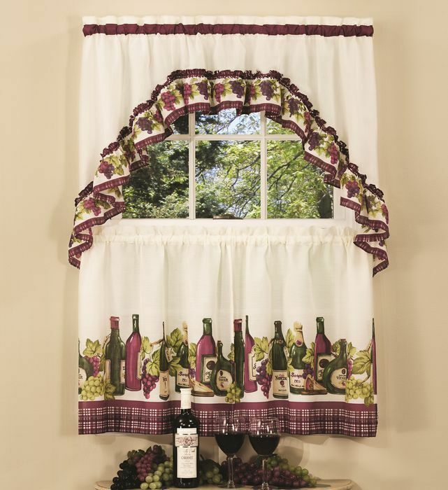 """Chardonnay Complete Tier & Swag Set 24"""" L Kitchen Curtain Wine Bottles & Grapes 54006619971 