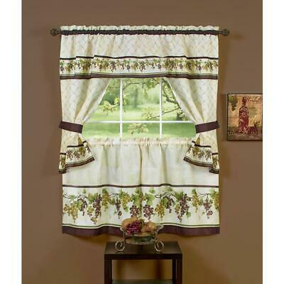 "Chardonnay Complete Tier & Swag Set 36"" L Kitchen Curtain Regarding Chardonnay Tier And Swag Kitchen Curtain Sets (View 6 of 25)"