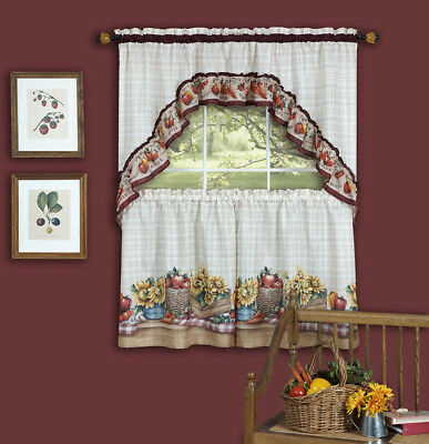 Chardonnay Kitchen Curtain With Swag And Tier Set 36 In Regarding Chardonnay Tier And Swag Kitchen Curtain Sets (View 11 of 25)