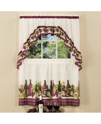 Chardonnay Printed Tier And Swag Window Curtain Set, 57X36 In Chateau Wines Cottage Kitchen Curtain Tier And Valance Sets (View 2 of 25)