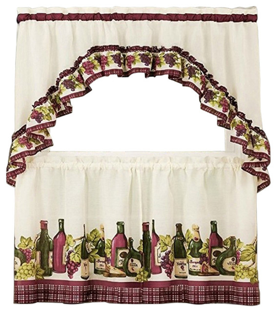 "Chardonnay Tier And Swag Set, Burgundy, Set Of 2, 36"" Throughout Chardonnay Tier And Swag Kitchen Curtain Sets (View 5 of 25)"