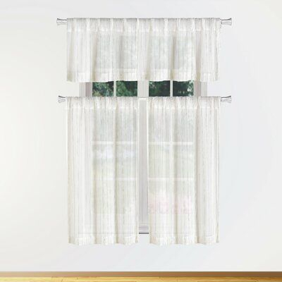Charlton Home Hayslett 3 Piece Semi Sheer Kitchen Curtain In Red Delicious Apple 3 Piece Curtain Tiers (View 4 of 25)