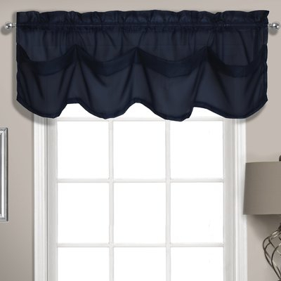 "Charlton Home Rutherford Sheer Voile Tuck 56"" Window Valance For Navy Vertical Ruffled Waterfall Valance And Curtain Tiers (View 6 of 25)"