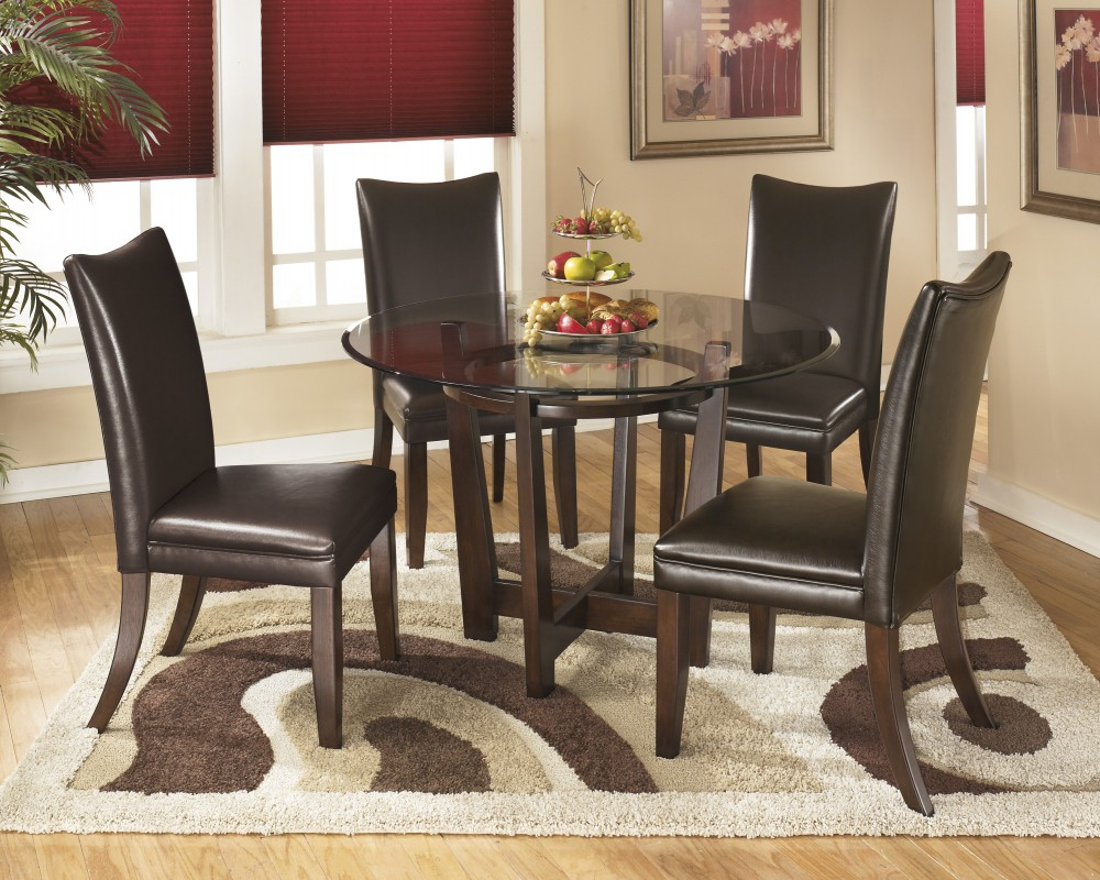 Charrell Round Dining Room Table & 4 Medium Brown Uph Side Chairs Throughout Best And Newest Griffin Reclaimed Wood Dining Tables (View 14 of 25)