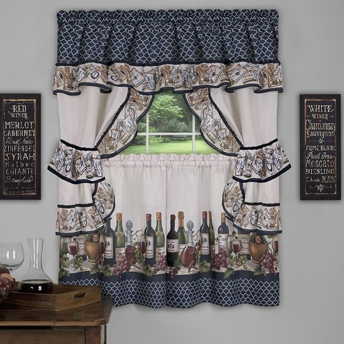 Chateau 3 Piece Kitchen Curtain Valance & Tiers Cottage Set, Navy, 57X36 Inches Throughout Chardonnay Tier And Swag Kitchen Curtain Sets (View 24 of 25)