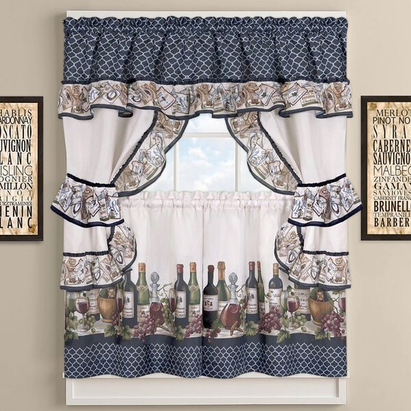 Chateau Wines Cottage Kitchen Curtains For 5 Piece Burgundy Embroidered Cabernet Kitchen Curtain Sets (View 16 of 25)