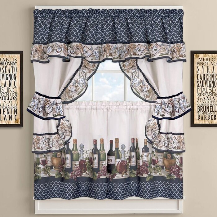 Chateau Wines Cottage Kitchen Curtains Regarding Cottage Ivy Curtain Tiers (View 25 of 25)
