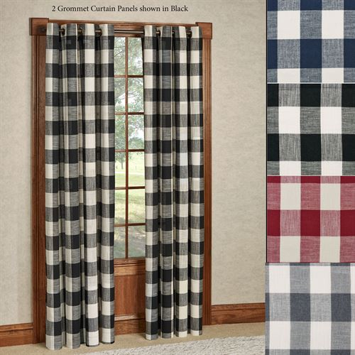Checkerboard Grommet Window Treatment Throughout Classic Navy Cotton Blend Buffalo Check Kitchen Curtain Sets (View 16 of 25)