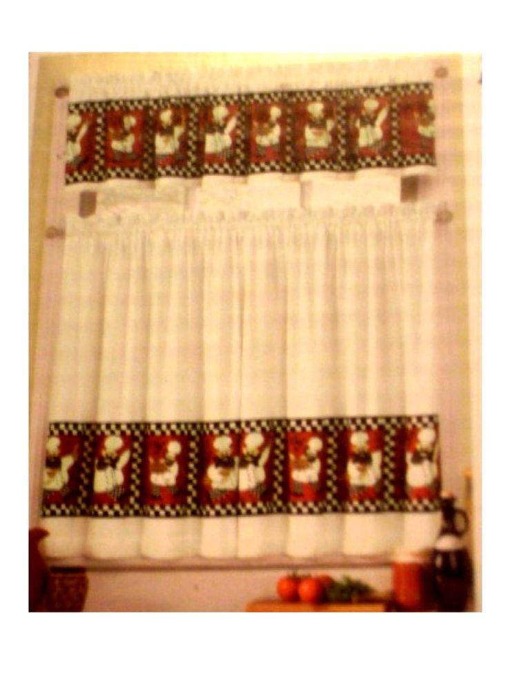 Chef Kitchen Curtains Inside Embroidered Chef Black 5 Piece Kitchen Curtain Sets (View 10 of 25)