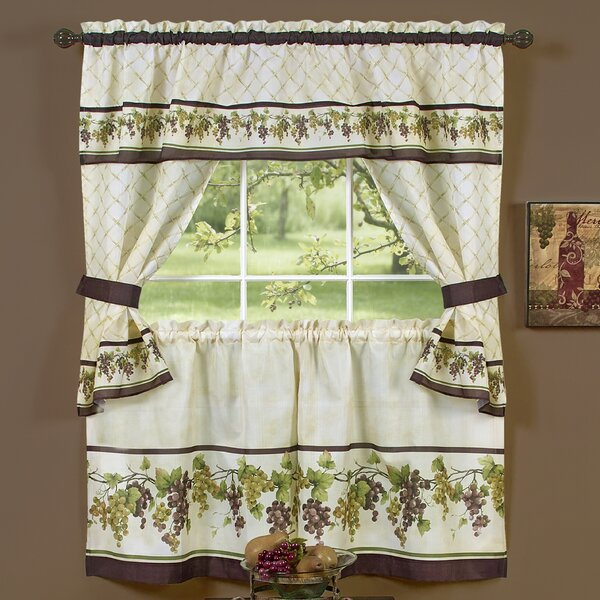 Featured Image of Complete Cottage Curtain Sets With An Antique And Aubergine Grapvine Print