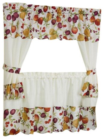 "Chesapeake Curtain Set, 58""x24"" Tailored Tier Pair/58""x36"" Tailored Topper Regarding Tailored Toppers With Valances (View 22 of 25)"