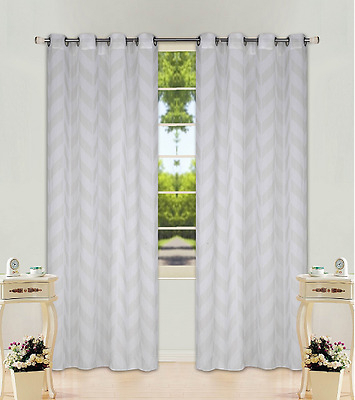 Chevron Stripe Ivory Cream Grommet Voile Sheer Window With Regard To White Micro Striped Semi Sheer Window Curtain Pieces (Image 2 of 25)