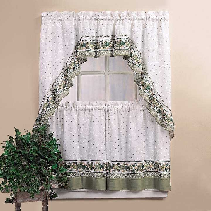 Chf Cottage Ivy 36 Valance Tier Set In 2019 | Products Within White Micro Striped Semi Sheer Window Curtain Pieces (Image 3 of 25)