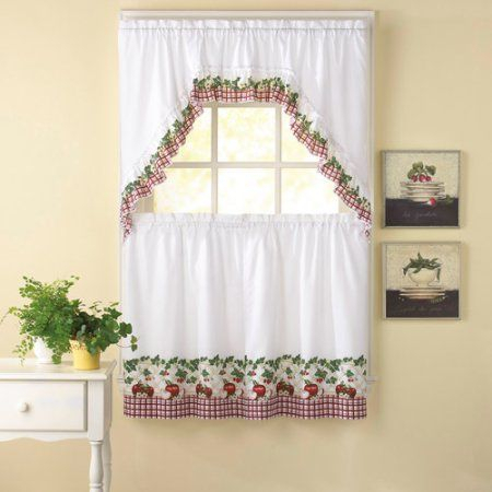 Chf & You Apple Blossom Kitchen Curtains, Set Of 2 Within Traditional Two Piece Tailored Tier And Swag Window Curtains Sets With Ornate Rooster Print (View 17 of 25)