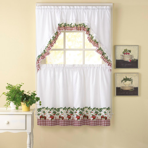 Chf & You Apple Blossom Tier Curtain Pan – Walmart Throughout Red Delicious Apple 3 Piece Curtain Tiers (View 23 of 25)
