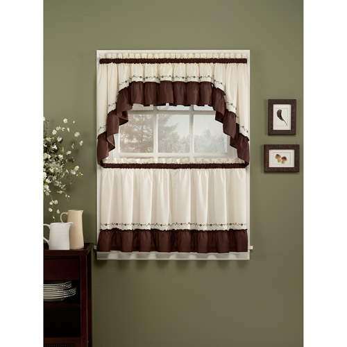 Chf & You Jayden Kitchen Curtains, Set Of 2 – Walmart Inside Embroidered 'Coffee Cup' 5 Piece Kitchen Curtain Sets (View 25 of 25)