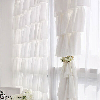 Chic Sheer Voile Ruffled Tier Window Curtain Layers Princess Panel Home Decor | Ebay With Chic Sheer Voile Vertical Ruffled Window Curtain Tiers (View 4 of 25)