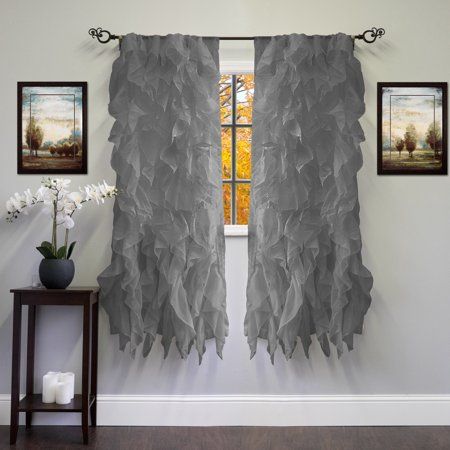 Chic Sheer Voile Vertical Ruffled Tier Window Curtain Panel Pertaining To Vertical Ruffled Waterfall Valances And Curtain Tiers (Image 3 of 25)
