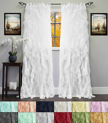 """Chic Sheer Voile Vertical Ruffled Tier Window Curtain Single Panel 50"""" X 84"""" 